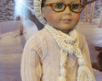 Doll Hat,  Knit Hat and Scarf, Beret, 18 inch  Doll Clothes