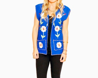 Vintage 50s  Embroidered Mexican Tourist Vest