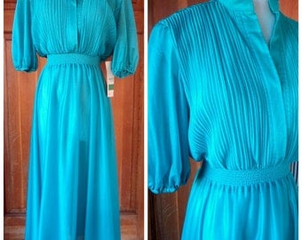 Vintage 70s Dress Crystal Pleated Secretary Day Dress Teal Green NOS Samuel Blue Size 8 34 Bust