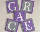 Letters, Wall Letters, Wooden Letters, Alphabet Letters for Wall, Wood Custom Letters, Personalized Nursery Letters, Purple / Gray Letters,