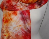 Hand Dyed Silk Scarf  Hand painted Scarf -  orange, brown, yellow  Batik women's fashion persimmon Shades of Fall Autumn