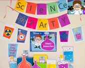 Science Party Decorations & Props Printable Kit - INSTANT DOWNLOAD - Girl Brown Hair