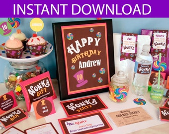 Willy Wonka Birthday DIY Printable Kit - INSTANT DOWNLOAD