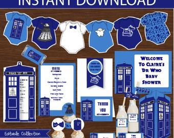Dr Who Baby Shower DIY Printable Kit - INSTANT DOWNLOAD - Dr Who Inspired