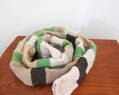 Long green brown tube scarf made from recycled sweaters--winter fashion--uni-sex--women's scarf--men's scarf