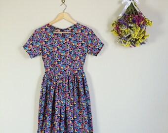 Black and Rainbow Floral Baby Doll Mini Dress lolita summer