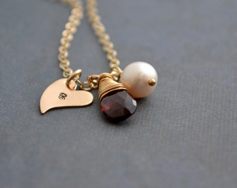 Personalized Red Garnet Necklace, Heart Charm, Freshwater Pearl, 14K Gold Filled, January Birthstone, Monogram Gift, Gift Under 45