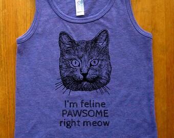 Funny Cat Shirt - Girls Tank Top Sleeveless I'm Feline Pawsome Right Meow Tee Shirt - Sizes 2, 4, 6, 12 - Purple
