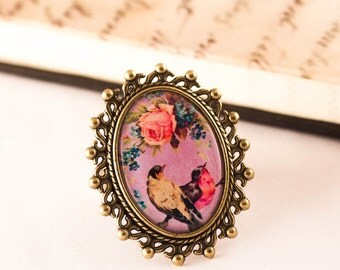 BIRD Ring - Victorian Ring - Shabby Chic Ring - lilac Ring - Bird Jewelry - Romantic Jewelry - Bird and Rose - Gift For Her - Spring Ring