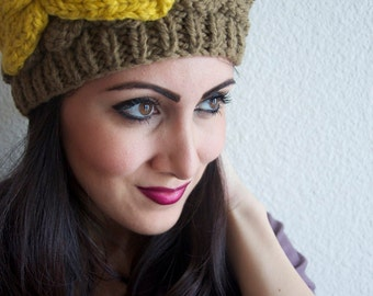Olive Green Winter Knit Beanie - Olive Green Knit Beanie Hat with Yellow knit accent Bow