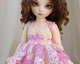 Pink & vanilla dress for TINY bjd LittleFee