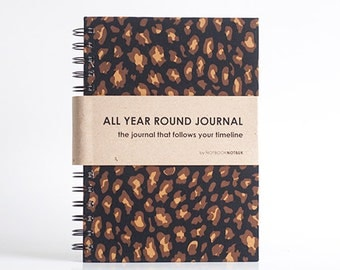 Weekly Planner A5 Size (Undated) All Year Round Timeless Journal - Cheetah Print
