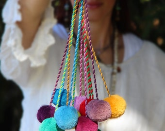 Choose Your Color Pom Pom Swag, Bag Charm, Bag Pom, Tie Back, Pom Pom Rope, Tassel, Decoration, Bohemian Fashion, Decorating Supply, Design