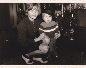 Littlest Gentleman- 1960s Vintage Photograph- Mother and Son- Christmas Tree- Boy in Hat-  60s Snapshot- Christmas Decor- Paper Ephemera