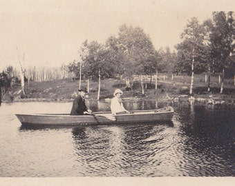 Merrily, Merrily- 1920s Antique Photograph- Couple in Row Boat- Wisconsin Lake- Birch Trees- Old Photo- Snapshot- Picture- Paper Ephemera