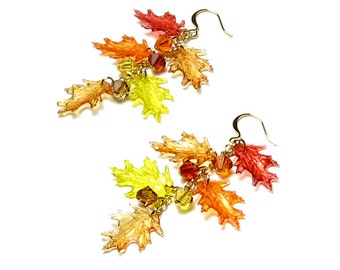 Fall Leaf Earrings Orange Yellow Red Topaz Amber Acrylic Oak Leaves With Swarovski Crystals in Gold or Silver Autumn Drop Jewelry For Women