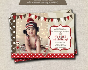 Sock Monkey Invitation red and brown, Sock Monkey Invite, Sock Monkey Party Printables
