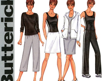 Activewear Pattern Uncut Bust 30 to 32 Butterick 3467 Yoga Jogging Warm Up Exercise Suit Sweat Pants Hoodie Sweatshirt Womens Sewing Pattern