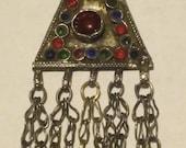 Small Trapezoid Kuchi pendant w/dangles