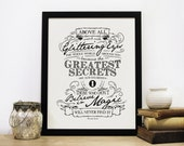 Believe In Magic screen print, Chatty Nora, Roald Dahl Quote, typographic print, typographic art,