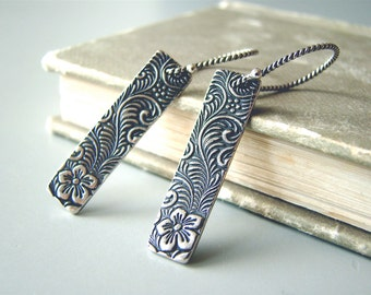 Rustic Bars,  artisian sterling silver  earrings with sterling silver ear wires