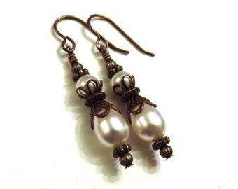 Swarovski Pearl & Brass Teardrop Earrings, Brass Earrings, Pearl Earrings, Pearl Teardrop Earrings, White Pearl Earrings