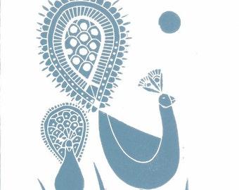 Peacock Linocut Art Print - Hand Pulled Original,Teal Blue Feathers, Birds, by Giuliana Lazzerini.