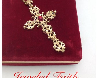 Cross Necklace Mixed Chain Ruby Red Necklace