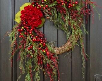 Christmas Wreath Winter Wreath Holiday Door Decor Wispy Pine Red Berry Branches Red HydrangeaFloral Door Decoration Indoor Outdoor Decor