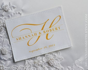 Personalized Monogram Wedding Dress Label Sew In Patch Something Blue plus Multiple Colors