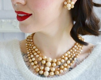 Vintage Necklace and Earring Set in Tan and Beige Made in Japan
