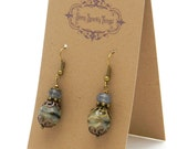 Gifts under 10 - Pretty little glass and stone bead earrings with filigree - special holiday price!  SST3101
