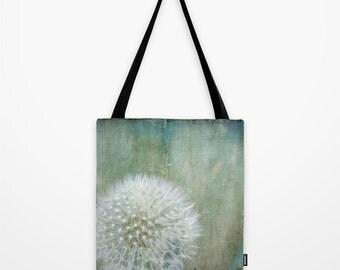 Tote Bag, Dandelion Tote Market Shopping Bag, Green Teal White Tote Bag, Book Bag, Over Shoulder Sling Bag, 13x13 16x16 18x18 Tote Bag