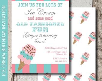 Ice Cream Party Invitation | Ice Cream Invitation | Ice Cream Party | Ice Cream Party Birthday | Printable Invitation | Ice Cream Cone Party