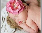 Baby Girl Headband.Baby Headband. Newborn Headband.Vintage Baby Headband.Baby Headbands.Infant Headband.Pink Flower Headband.Vintage Glamour