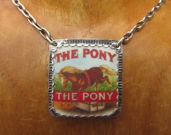 The Pony Necklace Silver and Shrinky Dink Shrink Plastic Horse Equestrian Jewelry