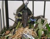 OOAK Wood Waif Deer Girl Anthropomorphic Horned Girl Jointed Doll Sprite Guardiann Goddess Antlers
