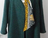 Vintage Alma Green Boiled? Wool Swing  Coat Made In Italy Size 44  XL