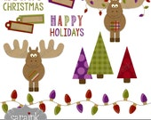Merry Moose Clipart digital clip art for Personal and Commercial Use