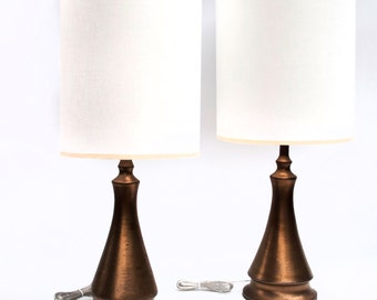 Pair of Gold Ceramic Lamps and Shades
