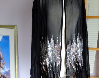 Vintage chiffon jacket with silver beadwork at the waist