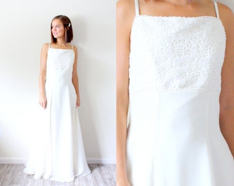 Vintage wedding dress rose beaded lace cream lace for Simple cream wedding dresses
