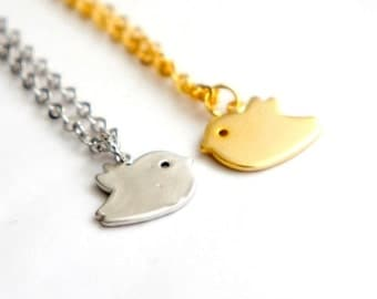 Tiny Bird Necklace - Matt Gold / Silver - Simple Everyday Necklace - Gift Under 20 - Bridal Jewelry Bridesmaids Gift Idea