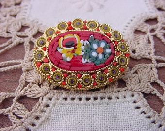 Vintage Yellow and Red Italian Micro Mosaic Floral Brooch