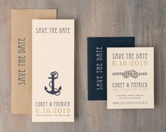 "Nautical Wedding Save the Dates, Navy Save the Date Cards, Tying the Knot,  Save the Date Card - ""Nautical Bliss"" Save the Dates"