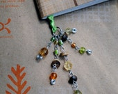 Green Beaded Book Thong Ribbon Bookmark Forest Wood Beads Summer Reading
