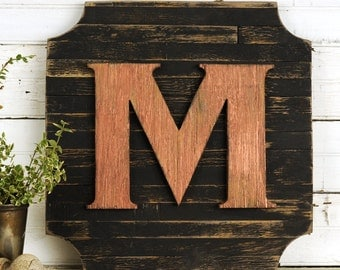 Wooden Monogram Plaque Door Decor Pallet Crest Personalized with Letter of your Choice Black and Copper or Customize