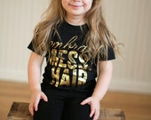 Embrace Messy Hair - Gold Foil - girls graphic tee - 2t to 6