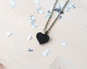 Black Heart Necklace | Valentines Gift | Nickel Free Studs