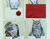 4 Owl Post Cards with Articulated Paper Dolls - Snowy, Great Grey, Eagle and Barn Owls